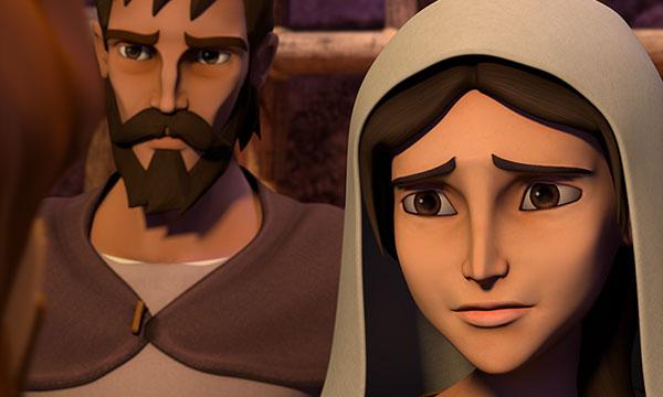 Maria se uită la Isus