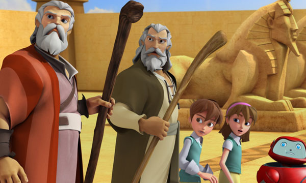 Moses and Aaron with the Superbook kids